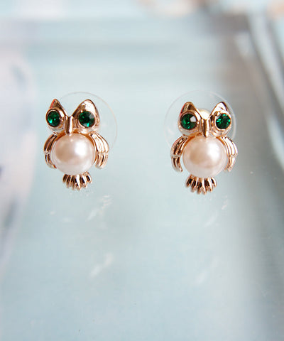 Owl Design Earrings with Pearl and Crystal