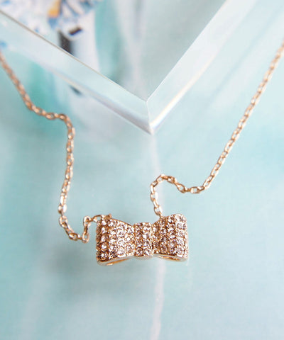 Bow Tie Necklace with Crystal