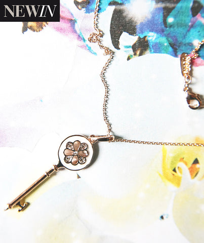 Key Pendant Necklace -  White/Rosegold