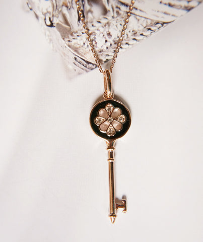 Key Pendant Necklace - Black/Rosegold