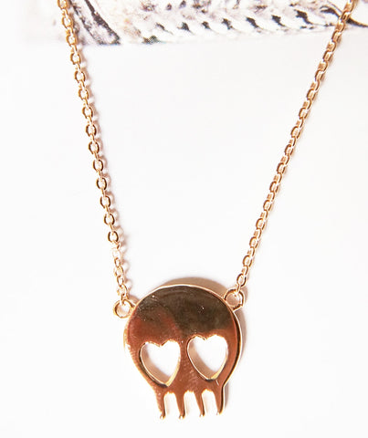 Skull Head Necklace - Rosegold Brass