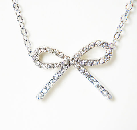 Crystalised Bow Necklace - Silver
