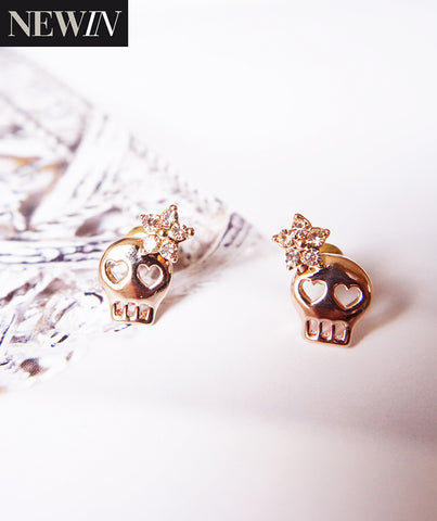 Skull Studs Earrings with Yellow Crystal Flower