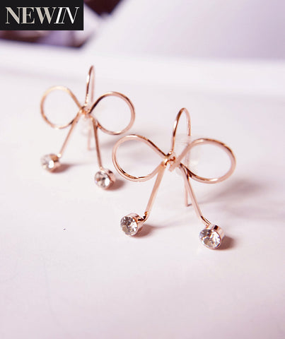 Bow Style Earrings with Silver Crystal