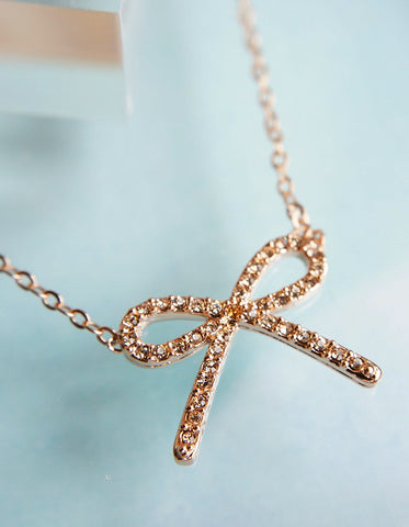 Crystalised Bow Necklace - Rosegold
