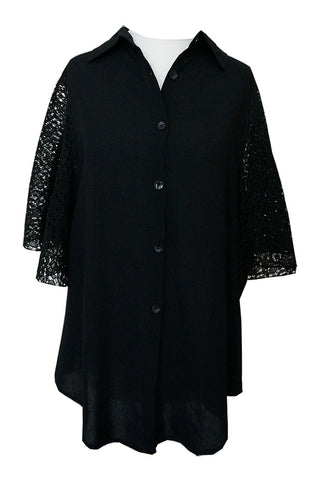 Laced Sleeve Shirt - Black