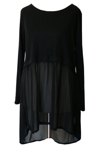 Long Sleeve Top with See Through Chiffon Bottom