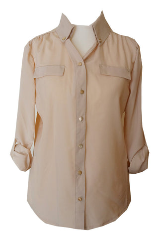 Chiffon Shirt with Gold Buttons - Beige