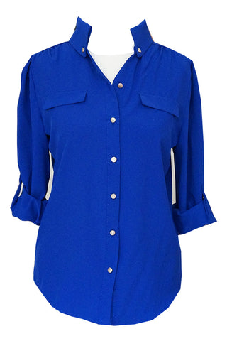 Chiffon Shirt with Gold Buttons - Blue