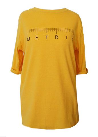 'Metric' Printed Tee - Yellow