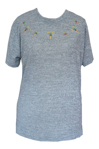 Oriental Style Embroidery Tee - Grey