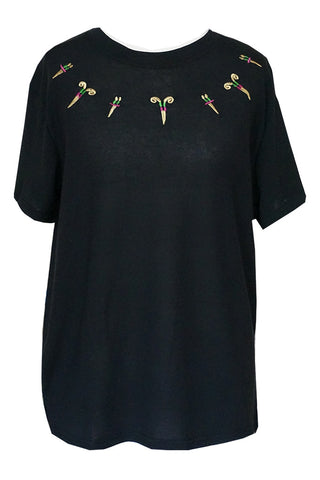 Oriental Style Embroidery Tee - Black