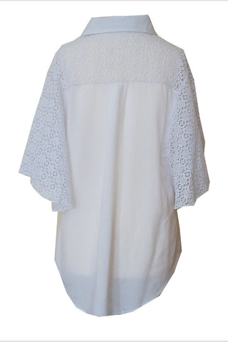 Laced Sleeve Shirt - White