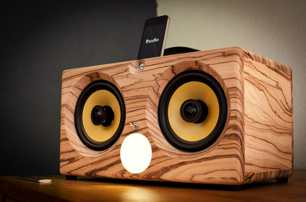 ultimate wooden aptX bluetooth boombox airplay speaker apple dock for iphone, thodio iBox XC teak oak zebrawood beech bamboo