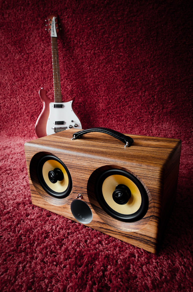 ultimate wooden aptX bluetooth boombox airplay speaker apple dock for iphone, thodio iBox XC teak oak zebrawood beech bamboo guitar amplifier