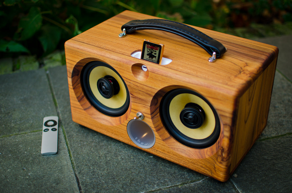 ultimate wooden aptX bluetooth audiophile boombox airplay speaker apple dock for iphone, thodio iBox teak oak zebrawood beech bamboo
