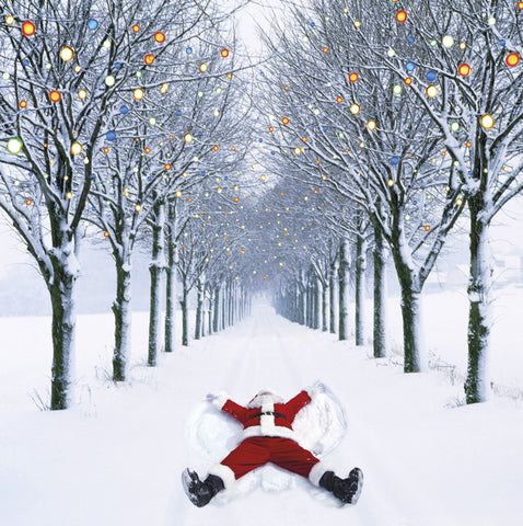 Santa snow angel Christmas cards