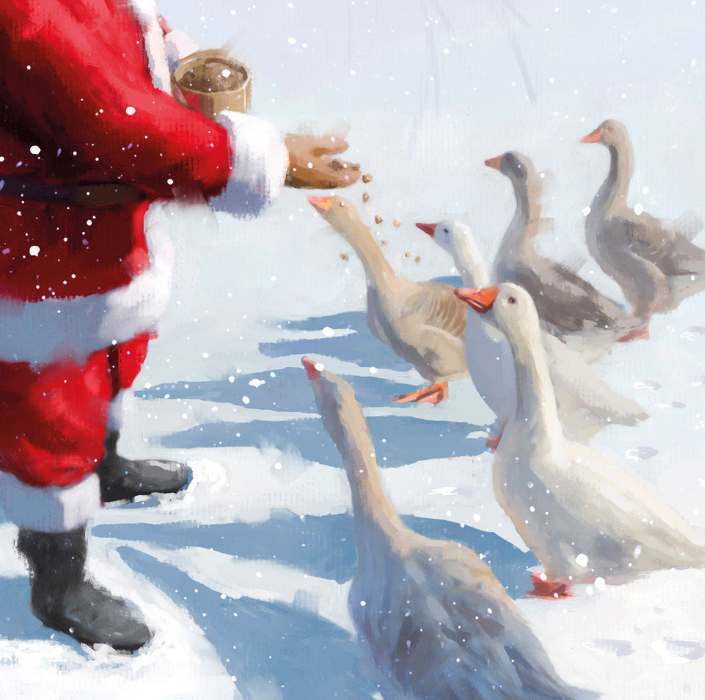 Feeding the geese Christmas cards