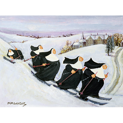 Skiing nuns Christmas cards