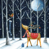Midnight reindeer Christmas cards