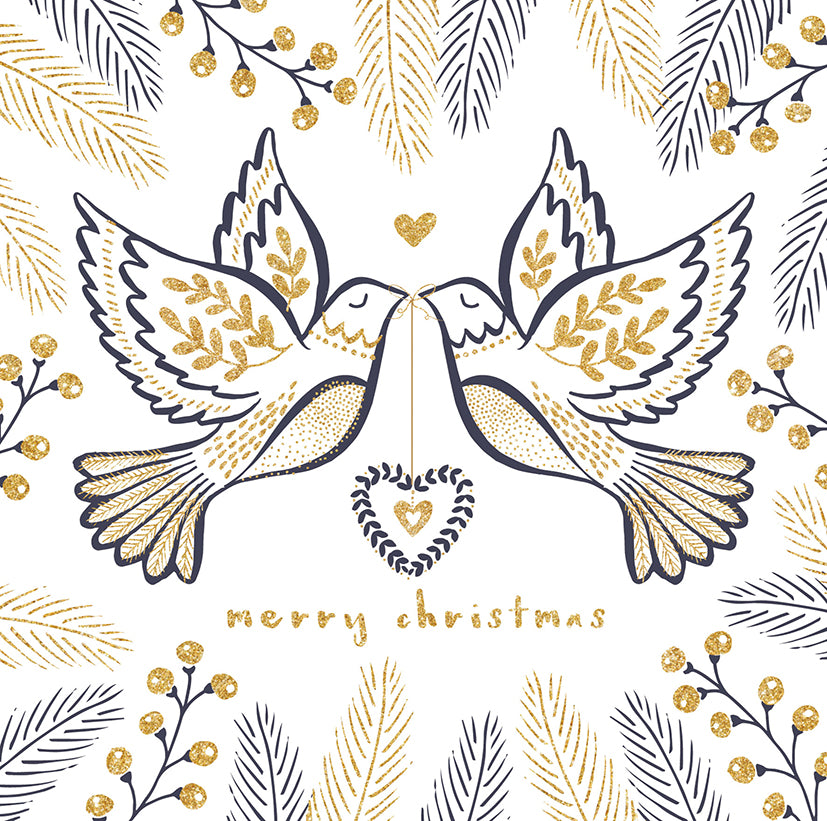 Two turtle doves Christmas cards