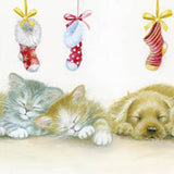 Sleeping pets Christmas cards