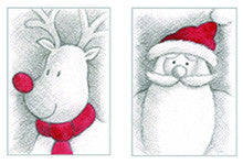 Rudolph and Santa Christmas cards