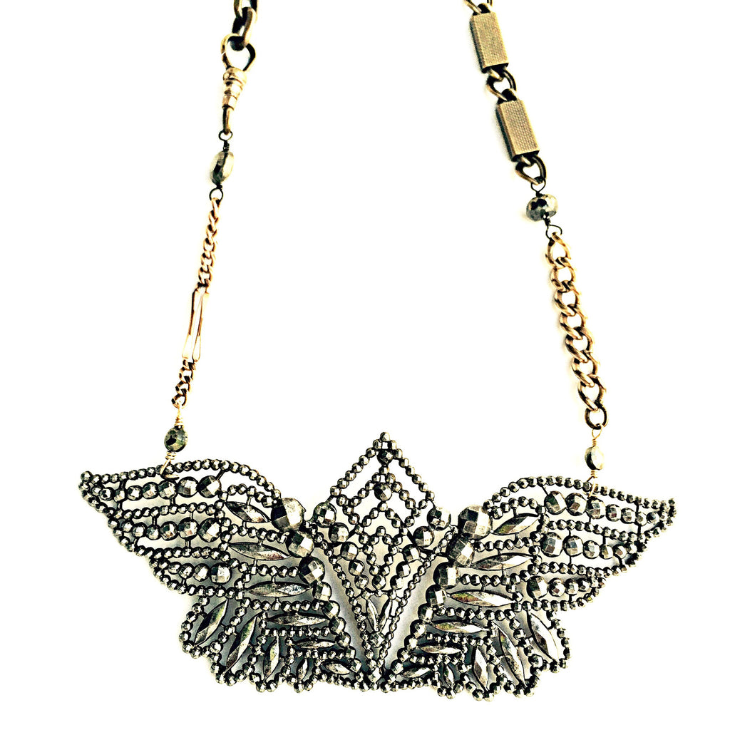 French Cut Steel Butterfly Necklace