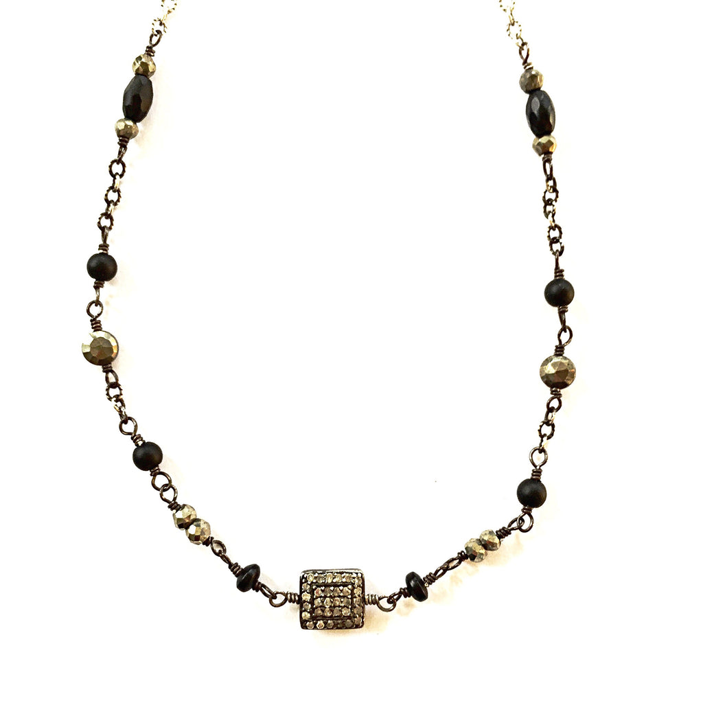 Square Pave Diamond & Black Gemstone Choker