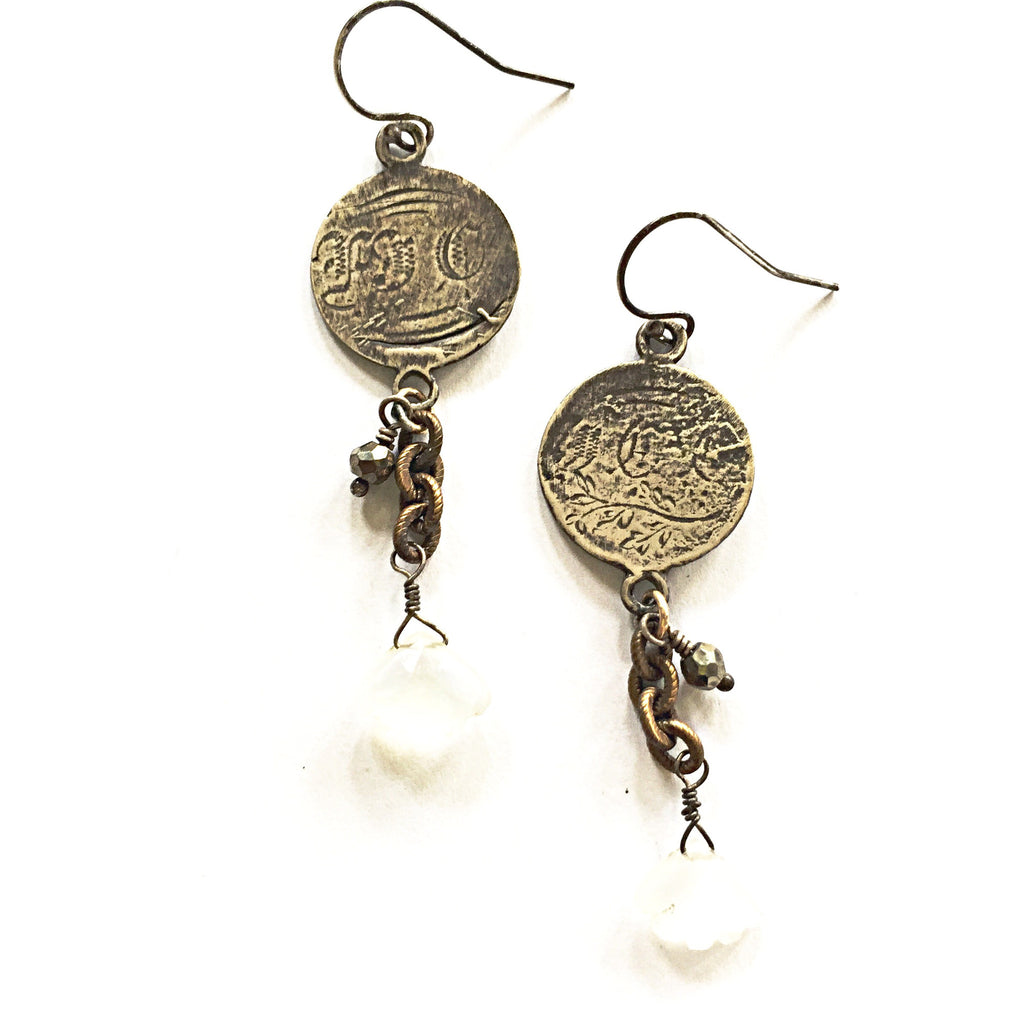 Engraved Love Token  Earrings