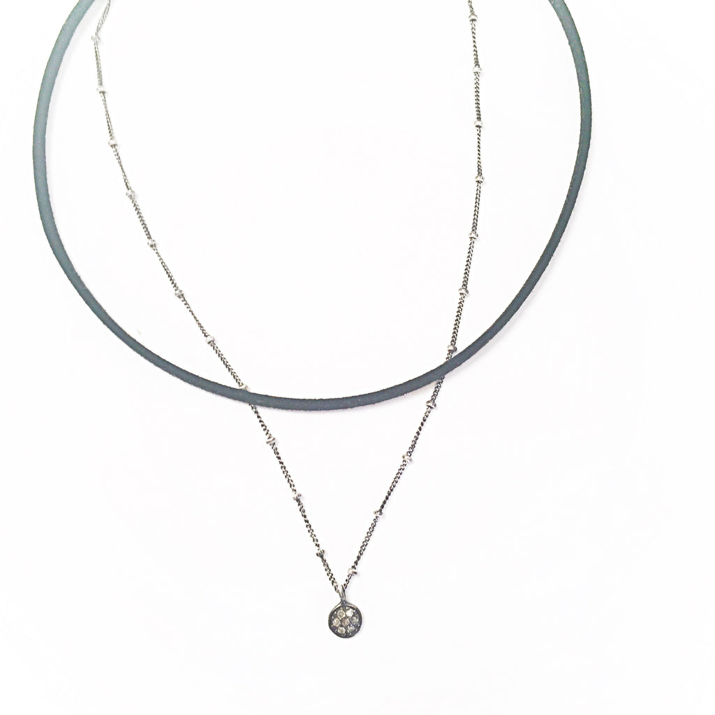 Suede & Diamond Choker