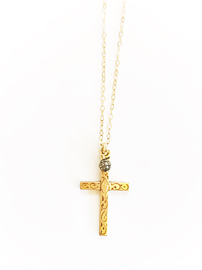 Dainty Vintage 1940's Cross W/ Pave Diamonds