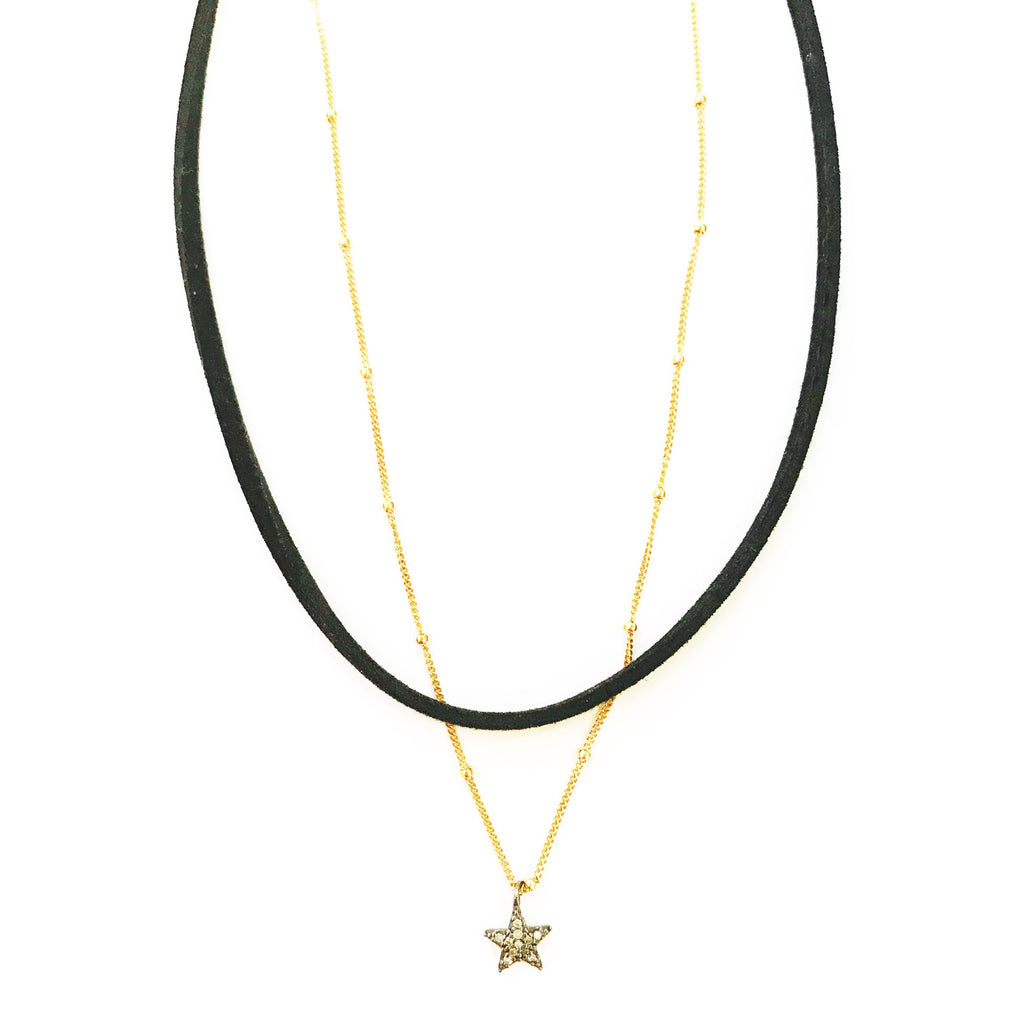 Suede & Diamond Star Choker