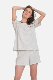 "JUNO knit shorts set with ""life is good"" embroidery"