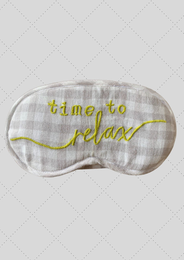 "Eye mask ""Time to relax"" embroidery"