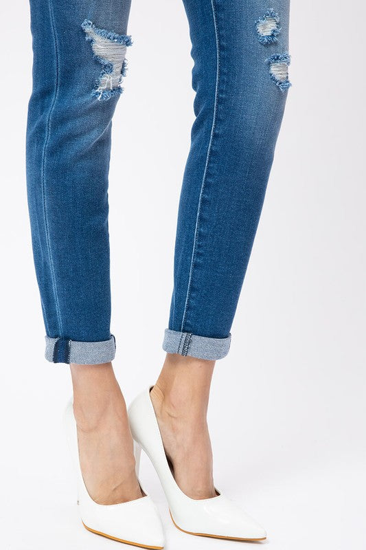 Miami Distressed Rolled Ankle Denim  | Kancan Brand