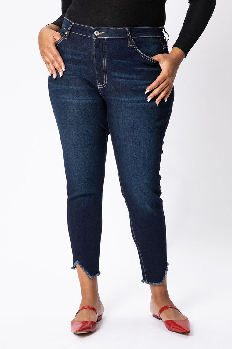 Lubbock Dark Distressed Ankle Denim | KanCan Brand | Plus Size