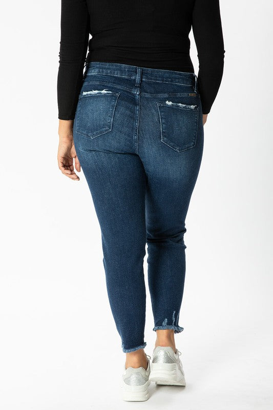 Toledo Twisted Fringe Ankle Denim  | KanCan Brand | Plus Size