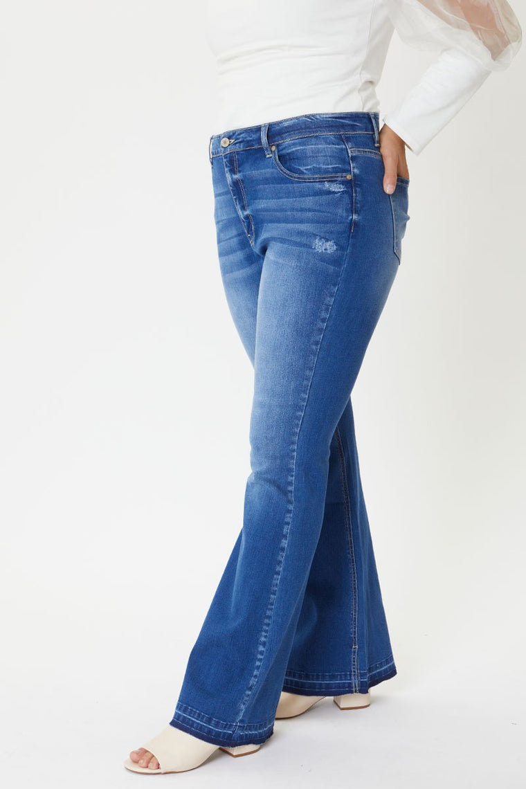 High Roller High Rise Flare Denim | Plus Size