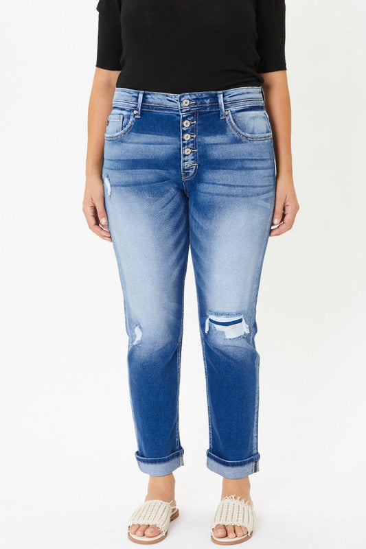 Vivian Vintage Distressed Straight Denim | KanCan Brand | Plus Size