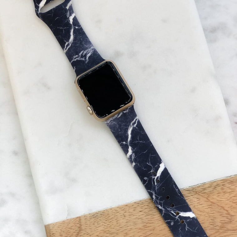 Black Marble Smart Watch Silicone Band | M/L Size