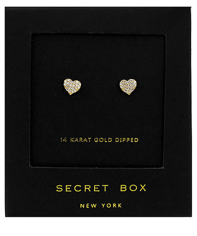 Heart CZ 24K Dipped Studs | Gold + Silver