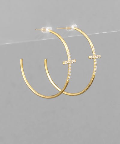 Cross CZ 24K Dipped Open Hoops  | Gold + Silver
