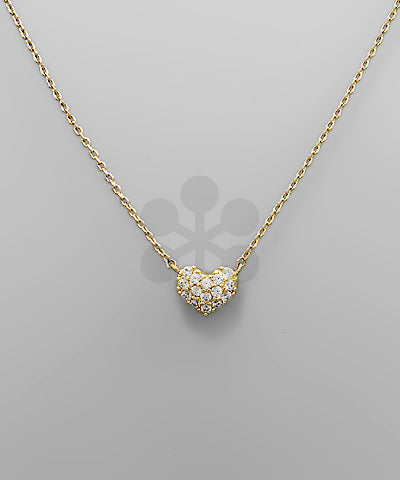 Pave Heart CZ 14K Dipped Necklace  | Gold + Silver