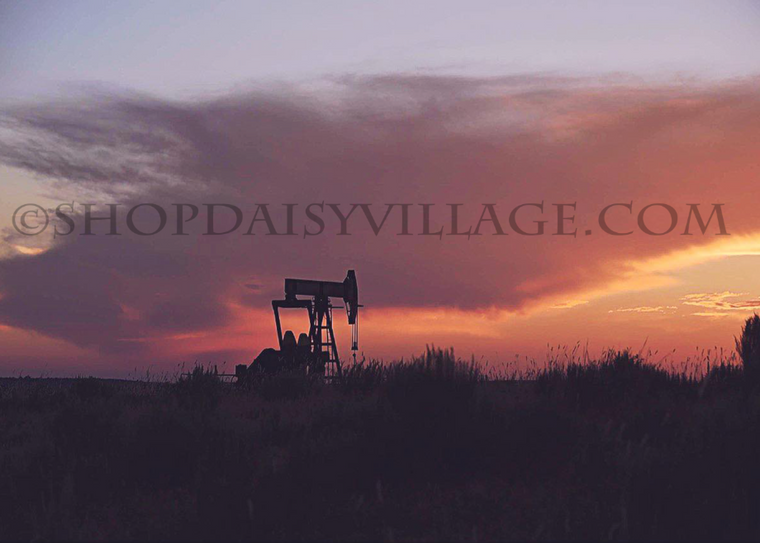 LOVELY OKLAHOMA SUNSET WITH OIL PUMP | 8x10 PRINT