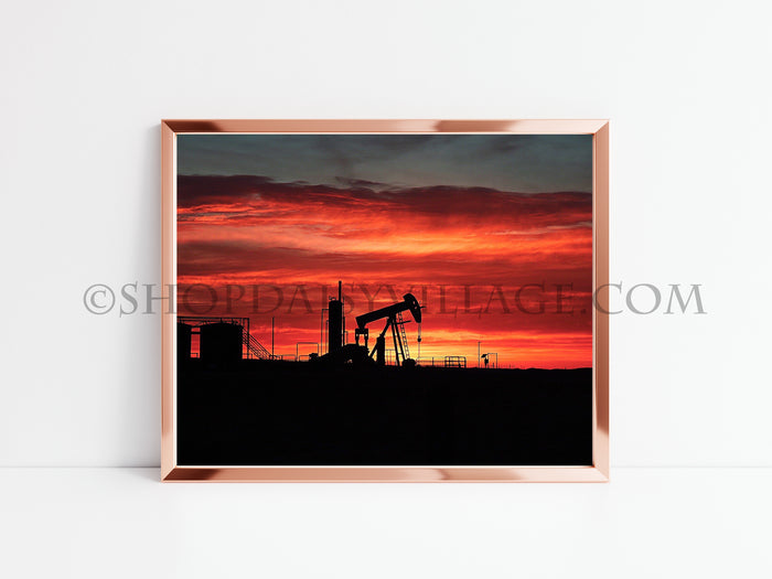 OKLAHOMA ORANGE & RED OILFIELD SUNSET | 8x10 PRINT