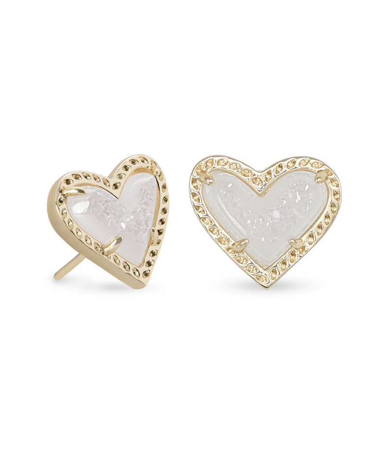 Ari Heart Drusy Stud Earrings | Multiple Colors
