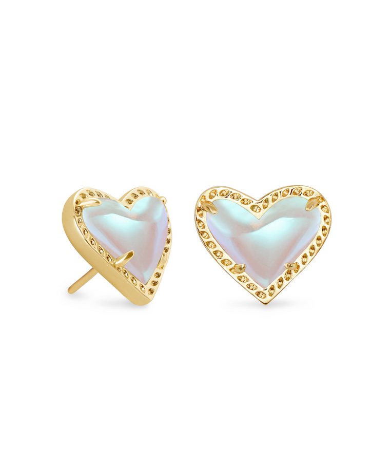 Ari Heart Dichroic Stud Earrings