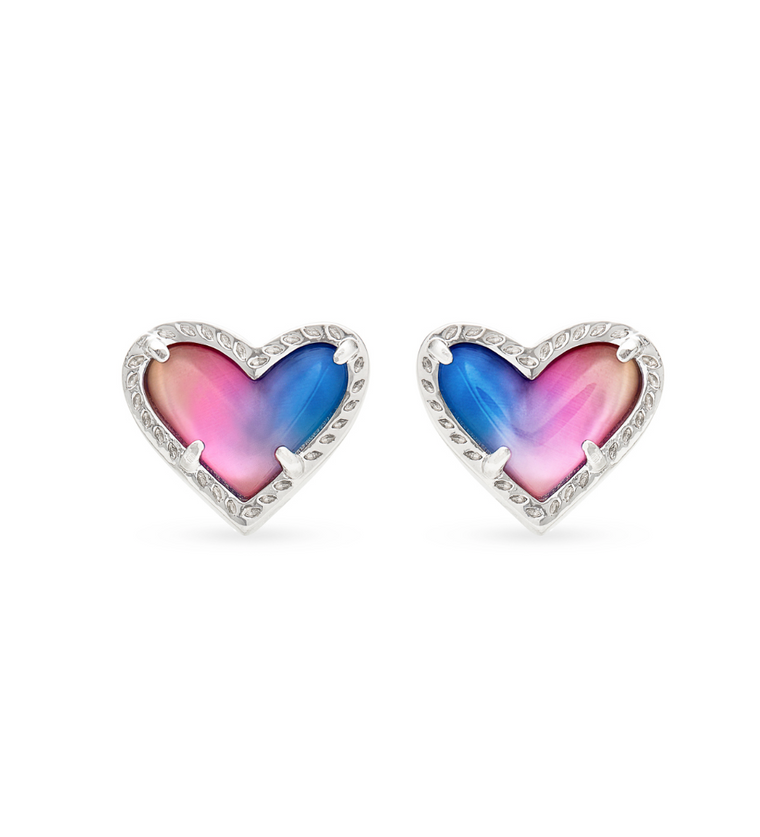 Ari Heart Watercolor Illusion Stud Earrings