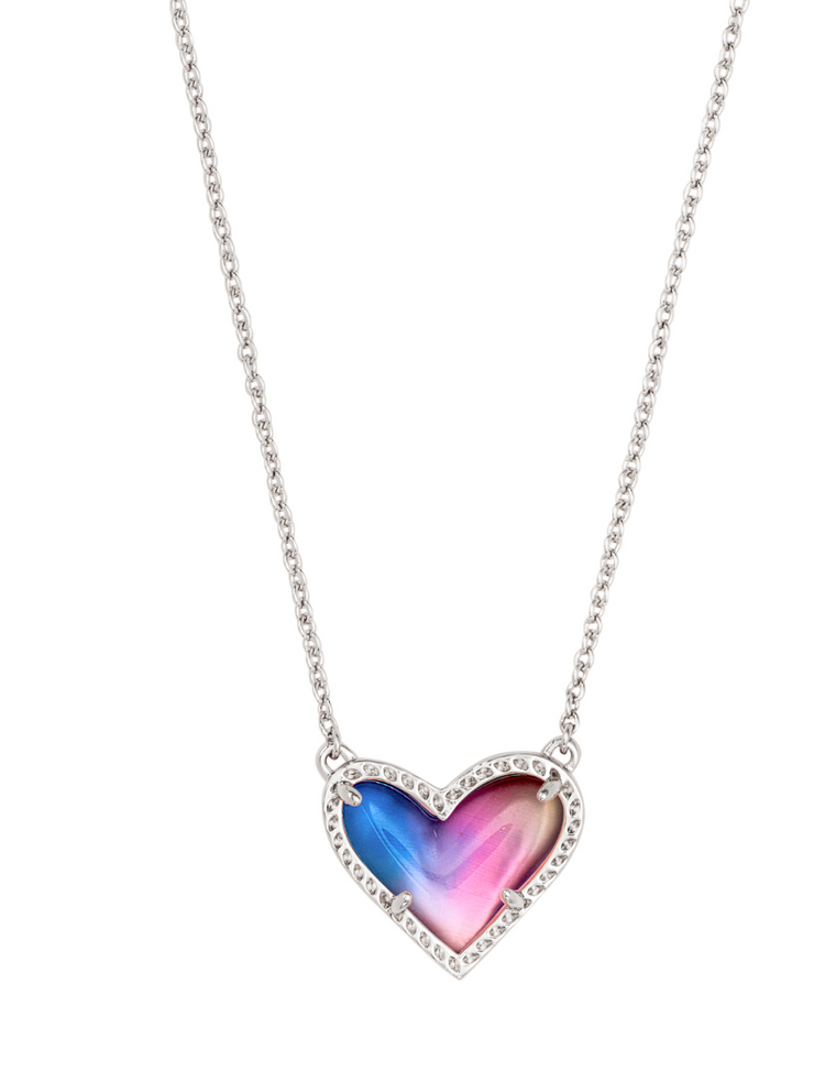 Ari Heart Watercolor Illusion Pendant Necklace